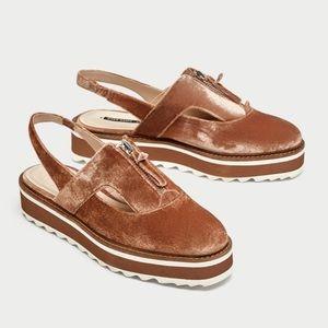 Zara Basic Velvet Platform Shoes